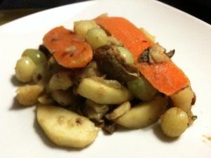 herfstpotje met kastanje, fruit en groenten