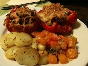 gevulde tomaat, gevulde paprika